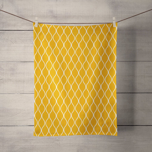 Mustard Yellow Tea Towel with a White Geometric Design, Dish Towel, Kitchen Towel - Shadow bright