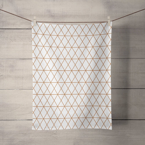 White Tea Towel with a Copper Lines Geometric Design, Dish Towel, Kitchen Towel - Shadow bright