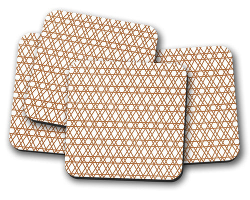 White Coasters with a Copper Geometric Lines Design, Table Decor Drinks Mat - Shadow bright