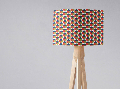 Red, White and Blue Geometric Design Lampshade, Ceiling or Table Lamp Shade - Shadow bright
