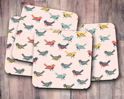 Pink Coasters with a Multicoloured Birds Design, Table Decor Drinks Mat - Shadow bright