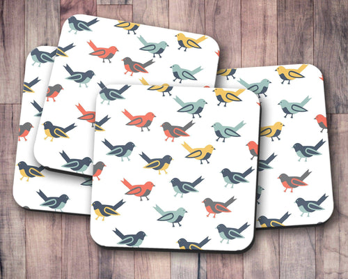 White Scandinavian Birds Design Coasters, Drinks Mat - Shadow bright