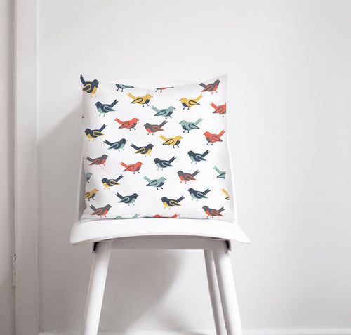 White Cushion wth Multicoloured Birds Design, Throw Pillow - Shadow bright