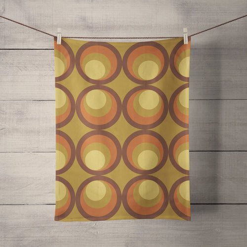 Mustard Yellow Tea Towel with Orange and Brown Retro Design, Dish Towels, Kitchen Towels - Shadow bright
