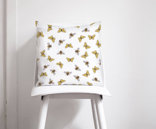 White with Brown Bees and Butterfly Design Cushion, Throw Pillow - Shadow bright