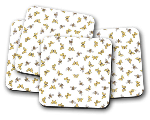 White Coasters with a Bees and Butterflies Design, Table Decor Drinks Mat - Shadow bright