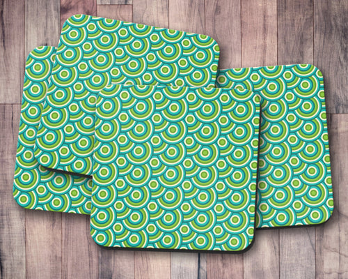 Green Retro 70's Design Geometric Circle Design Coasters, Table Decor Drinks Mat - Shadow bright
