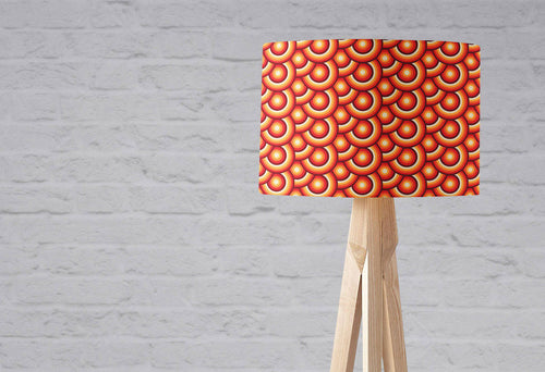 Orange and Brown Circles Design Retro 70's Lampshade, Ceiling or Table Lamp Shade - Shadow bright