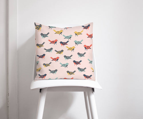 Pink Cushion with Multicoloured Birds Design, Throw Pillow - Shadow bright