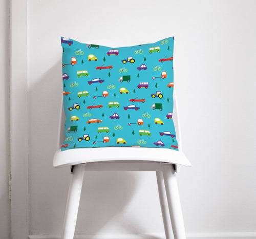 Turquoise Blue Cushion with Multicoloured Cars Design, Throw Pillow - Shadow bright