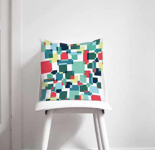 White Cushion with Blue, Red and Lemon Squares Design, Throw Pillow - Shadow bright