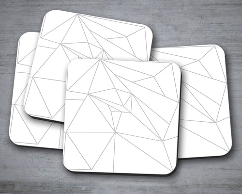 White Coasters with a Grey Geometric Line Design, Table Decor Drinks Mat - Shadow bright