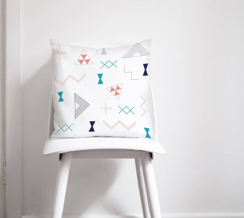 White Cushion with a Turquoise, Coral and Navy Blue Kilim Design, Throw Pillow - Shadow bright