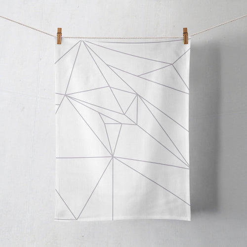White Tea Towel with a Grey Geometric Line Design, Dish Towel, Kitchen Towel - Shadow bright