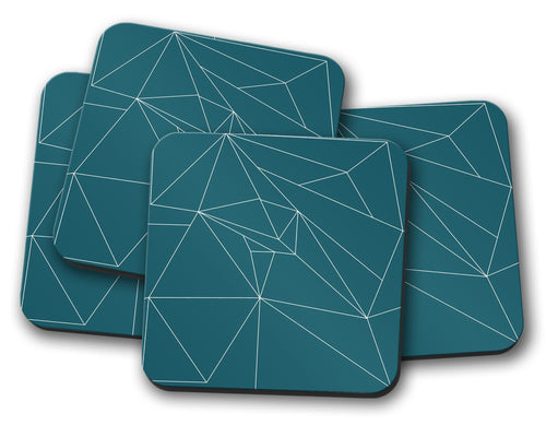 Teal Coasters with a White Line Geometric Design, Table Decor Drinks Mat - Shadow bright