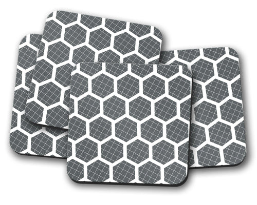 Grey Coasters with a White Hexagon Design, Table Decor Drinks Mat - Shadow bright