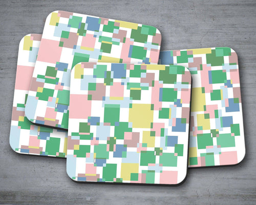 Green Colour Block Geometric Squares Design Coasters, Table Decor, Drinks Mat - Shadow bright