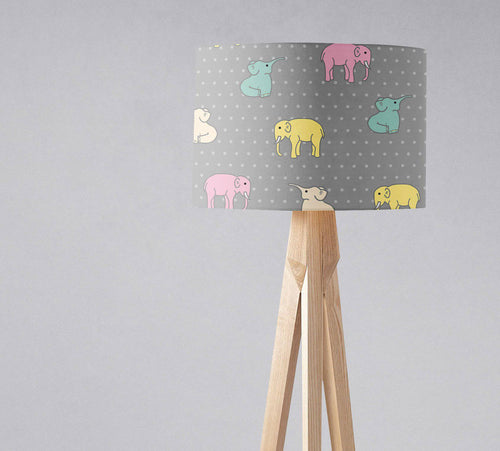Grey Lampshade with Pink and Yellow Elephants Design, Ceiling or Table Lamp Shade - Shadow bright