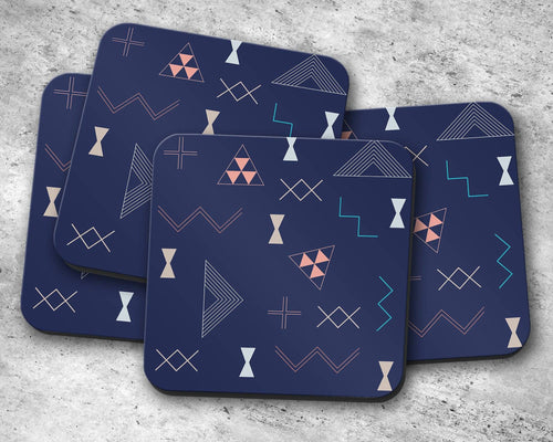 Navy Blue Coasters with a Coral and Turquoise Kilim Design, Table Decor Drinks Mat - Shadow bright