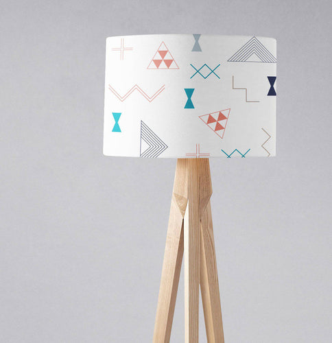 White Lampshade with Coral, Turquoise and Navy Blue Kilim Design, Ceiling or Table Lamp Shade - Shadow bright
