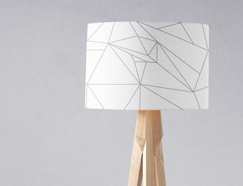 White Lampshade with a Grey Lines Geometric Design, Ceiling or Table Lamp Shade - Shadow bright