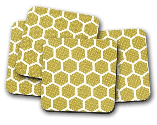 Mustard Yellow Coasters with a White Hexagon Design, Table Decor Drinks Mat - Shadow bright