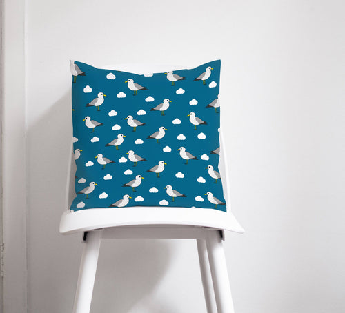 Mid-Blue Cushion with a Seagulls Design, Throw  Pillow - Shadow bright