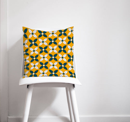 Yellow and Navy Blue Geometric Design Cushion, Throw Pillow - Shadow bright