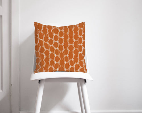 Orange Cushion with a Geometric Squares Design, Throw Pillow - Shadow bright