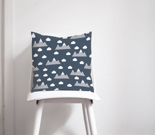 Navy Blue with Cloud and Mountain Design Cushion, Throw Pillow - Shadow bright