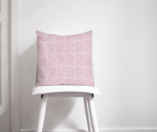 Pink Cushion with a White Geometric Design, Throw Pillow - Shadow bright