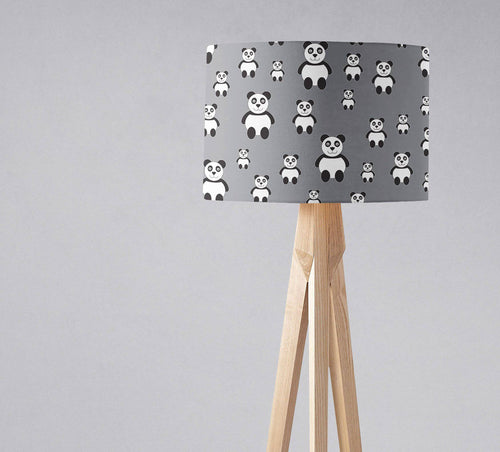 Grey Lampshade with a Panda Design, Ceiling or Table Lamp Shade - Shadow bright