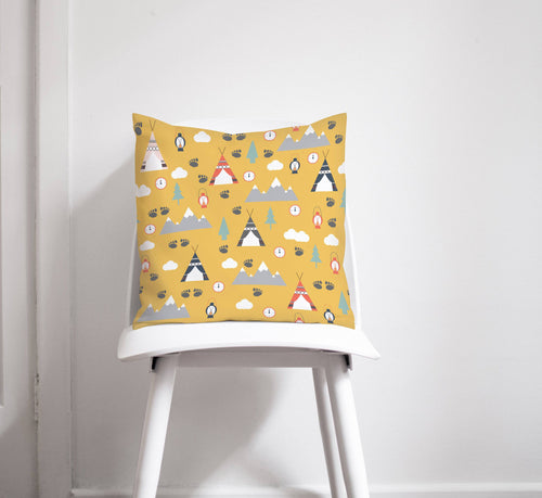 Yellow Cushion with a Camping Theme Design, Throw Pillow - Shadow bright