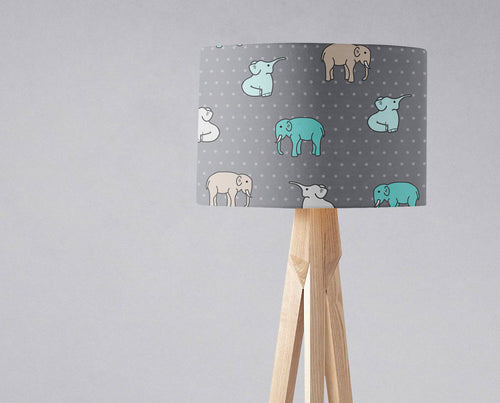 Grey Lampshade with a Multicoloured Elephant Design, Ceiling or Table Lamp Shade - Shadow bright