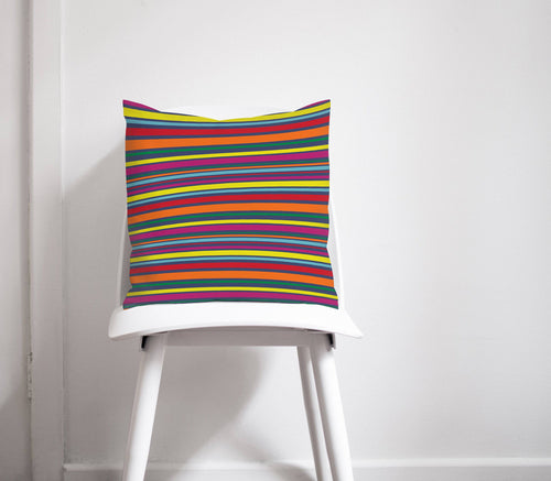 Rainbow Striped Design Cushion, Throw Pillow - Shadow bright