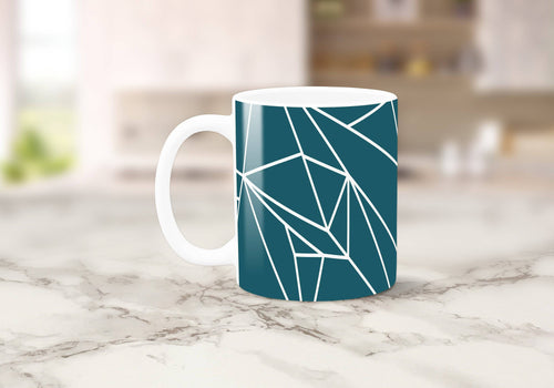 Teal with White Geometric Lines Design Mug, Tea or Coffee Cup - Shadow bright