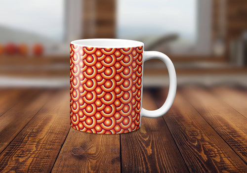 Orange Circles Retro Design Mug, Tea or Coffee Cup - Shadow bright