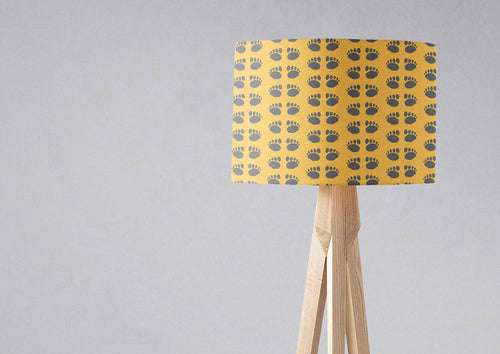 Yellow Lampshade with Outdoors Theme Paw Print Design, Ceiling or Table Lamp Shade - Shadow bright