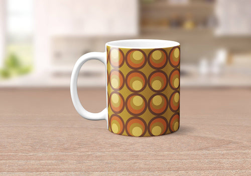 Orange, Yellow and Brown Circles Retro Design Mug, Tea or Coffee Cup - Shadow bright