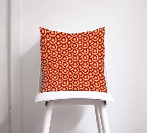 Orange Cushion with a 70's Retro Circles Design, Throw Pillow - Shadow bright