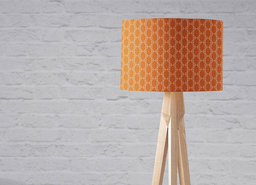 Dark Orange Lampshade with a White Geometric Design, Ceiling or Table Lamp Shade - Shadow bright