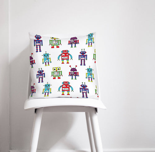 White Cushion with a Multicoloured Robot Design, Throw Pillow - Shadow bright