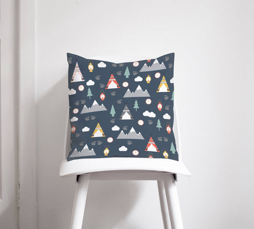 Dark Blue Cushion with an Outdoors Camping Theme Design, Throw Pillow - Shadow bright