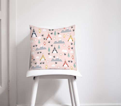 Pink Cushion with a Camping Theme Design, Throw Pillow - Shadow bright