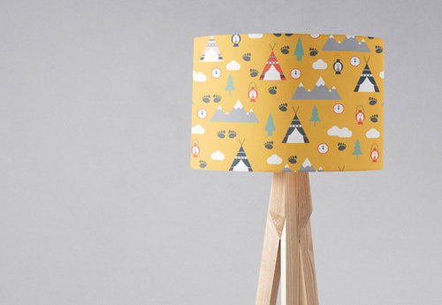 Yellow Scandinavian Camping Adventure Lampshade - Shadow bright
