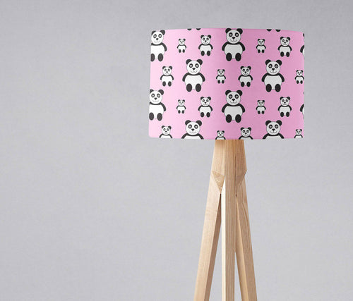 Pink Lampshade with Panda Design, Ceiling or Table Lamp Shade - Shadow bright