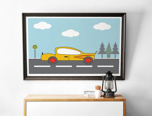 Yellow Car Wall Art, Poster Print - Shadow bright