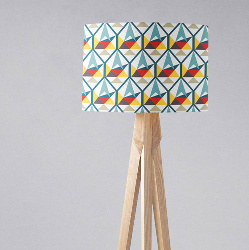 White with Colourful Contemporary Hexagons Lampshade, Ceiling or Table Lamp Shade - Shadow bright