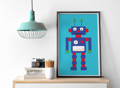 Turquoise Background with Robot Design Wall Art, Poster, Print - Shadow bright