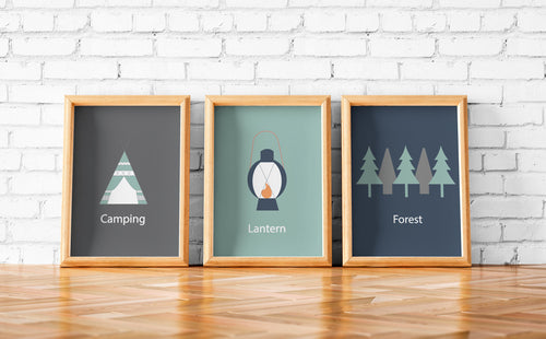 Set of 3 Camping Theme Wall Art Prints, Poster - Shadow bright